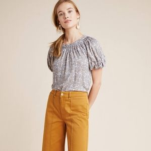 Anthropologie Mauve Linen Puff-Sleeved Top